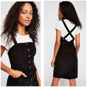 Free People 2 Buttonfront Cord Jumper Mini Dress